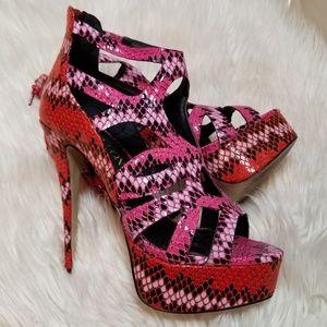 Paper Fox Estelle Snake Print Pink/Orange Heels 8